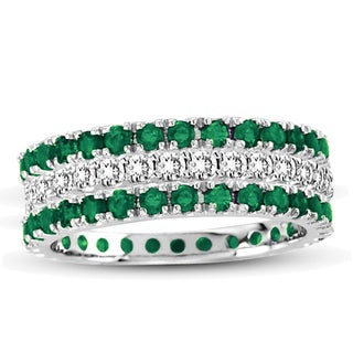 Suzy Levian 14k White Gold Emerald Diamond 3-piece Eternity Band Ring Set