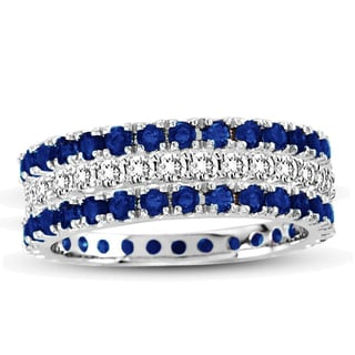 Suzy Levian 14k White Gold Sapphire Diamond 3-piece Eternity Band Ring Set