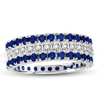 Suzy Levian White Gold Sapphire Diamond 3-Piece Eternity Band Ring Set|https://ak1.ostkcdn.com/images/products/10561378/P17639425.jpg?impolicy=medium