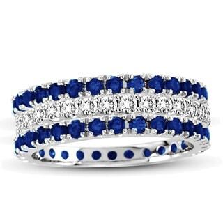 Suzy Levian White Gold Sapphire Diamond 3-Piece Eternity Band Ring Set