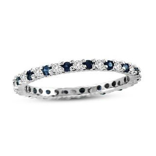 Suzy Levian 14K White Gold Diamond and Sapphire Eternity Band Ring