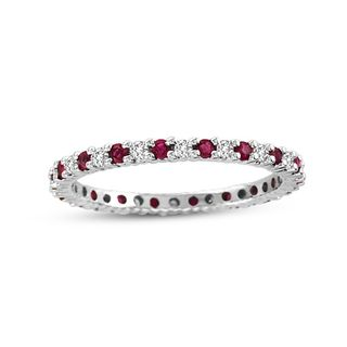 Suzy Levian 14K White Gold Diamond and Ruby Eternity Band Ring