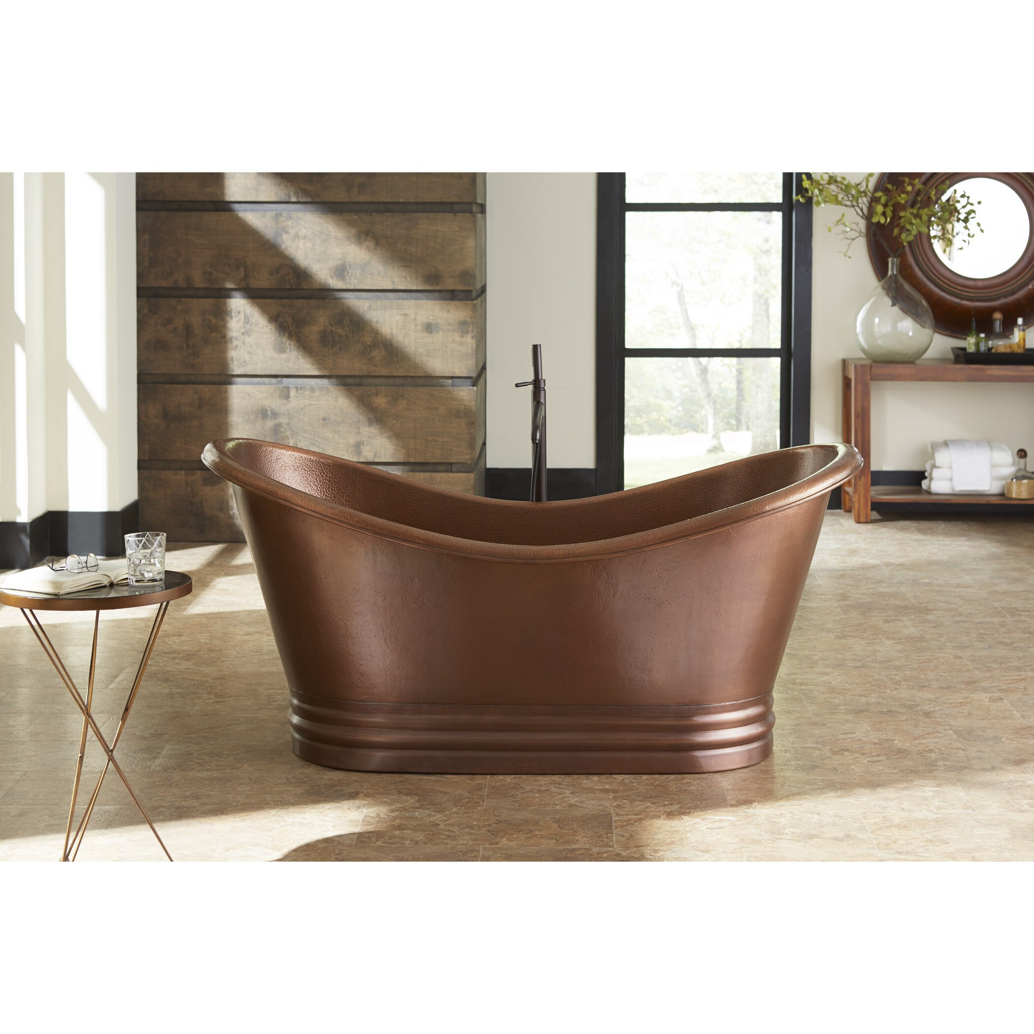 Sinkology Euclid Freestanding Bathtub 6 Foot Handmade Antique Copper Bathtub  W/Overflow