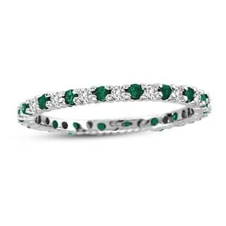 Suzy Levian 14K White Gold Diamond and Emerald Eternity Band Ring|https://ak1.ostkcdn.com/images/products/10561384/P17639429.jpg?impolicy=medium
