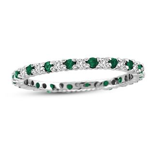 Suzy Levian 14K White Gold Diamond and Emerald Eternity Band Ring - Green
