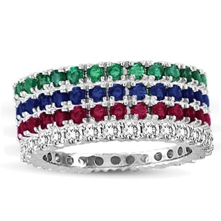 Suzy Levian 14k White Gold Ruby Emerald Diamond Sapphire 4-piece Eternity Band Ring Set