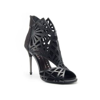 Dolce Vita Hadrian Black Leather High Heels Sandals Cage Shoes