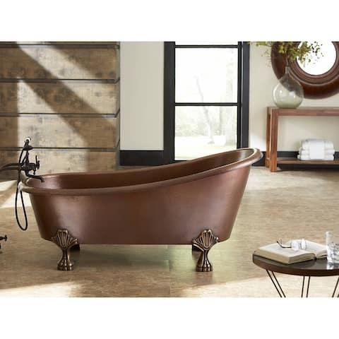 Sinkology Heisenberg Freestanding Bathtub 5.5-foot Handmade Solid Copper Bathtub with Overflow