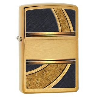 Zippo Gold And Black Brushed Brass Windproof Lighter