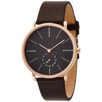 Skagen Men's SKW6213 'Hagen' Multi-Function Brown Leather Watch - GOLD