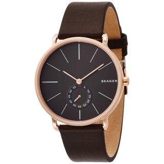 Skagen Men's SKW6213 'Hagen' Multi-Function Brown Leather Watch - GOLD