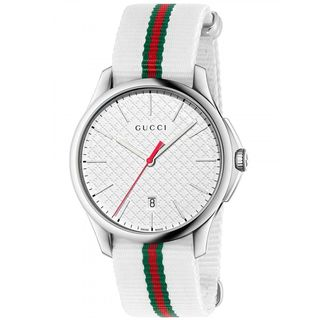 Gucci Men's YA126322 'G-Timeless' White green and red Nylon Watch
