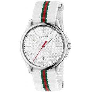 Gucci Men's YA126322 'G-Timeless' White green and red Nylon Watch|https://ak1.ostkcdn.com/images/products/10561472/P17639592.jpg?impolicy=medium