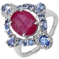 Malaika Sterling Silver 4 1/2ct Ruby and Tanzanite Ring