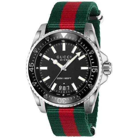 Gucci Men's Dive Green and Red Nylon Watch YA136206 - Black