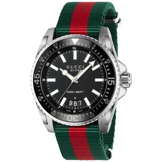 Link to Gucci Men's Dive Green and Red Nylon Watch YA136206 - Black Similar Items in Men's Watches