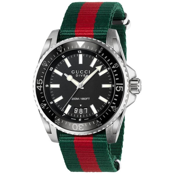 7eeb5dde6c0 Shop Gucci Men s YA136206  Dive  Green and red Nylon Watch - Black - Free  Shipping Today - Overstock - 10561477