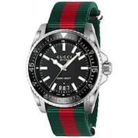 Gucci Men's YA136206 'Dive' Green and red Nylon Watch - Black