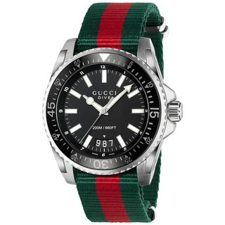 Gucci Men's 'Dive' Green and red Nylon Watch - Black