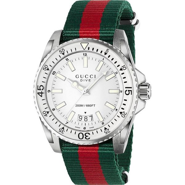 Gucci Men's YA136207 'Dive' Green and red Nylon Watch - White. Opens flyout.