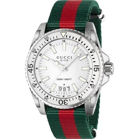 Gucci Men's YA136207 'Dive' Green and red Nylon Watch - WHITE