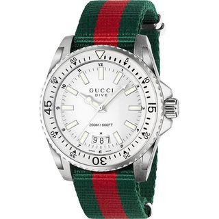 Gucci Men's YA136207 'Dive' Green and red Nylon Watch
