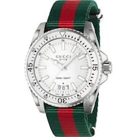 Gucci Men's YA136207 'Dive' Green and red Nylon Watch - White