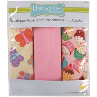 Babyville PUL Waterproof Diaper Fabric 21inX24in Cuts 3/PkgSweet Stuff Butterflies & Cupcakes