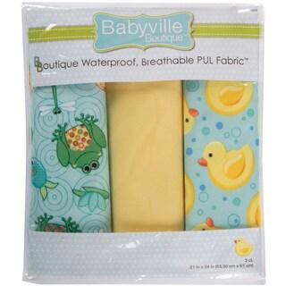 Babyville PUL Waterproof Diaper Fabric 21inX24in Cuts 3/PkgPlayful Pond & Ducks