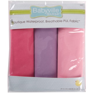 Babyville PUL Waterproof Diaper Fabric 21inX24in Cuts 3/PkgGirl Solids