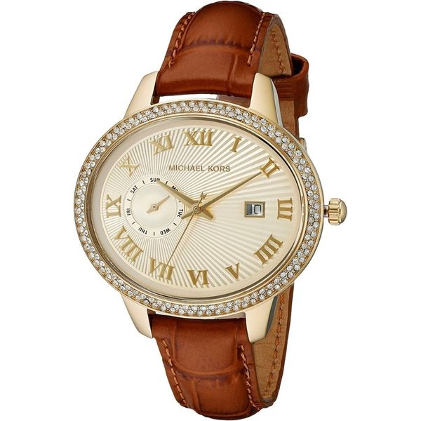 Michael Kors Women's 'Whitley' Crystal Brown Leather Watch
