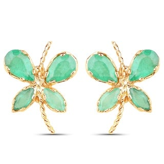 Olivia Leone 10k Yellow Gold 1 1/3ct Emerald Earrings