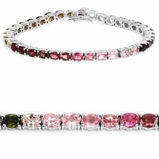 Olivia Leone Sterling Silver 12 3/4ct Multi-tourmaline Bracelet