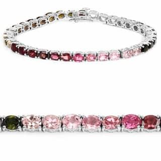 Olivia Leone Sterling Silver 12 3/4ct Multi-tourmaline Bracelet|https://ak1.ostkcdn.com/images/products/10561519/P17639640.jpg?impolicy=medium