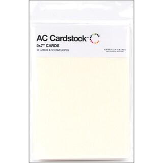 American Crafts A7 Cards & Envelopes (5.25inX7.25in) 12/PkgVanilla