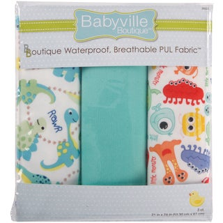 Babyville PUL Waterproof Diaper Fabric 21inX24in Cuts 3/PkgDinos & Monsters