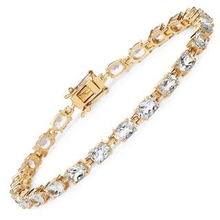 Olivia Leone 14k Goldplated Sterling Silver 8 4/5ct Aquamarine Bracelet