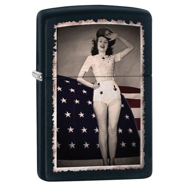 Zippo Flag Woman Saluting black matte Windproof Lighter
