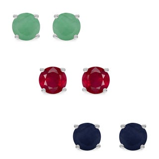 Malaika Sterling Silver 3 1/3ct Emerald Ruby and Sapphire Earrings