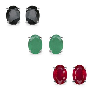 Malaika Sterling Silver 5 1/2ct Emerald Ruby and Sapphire Earrings
