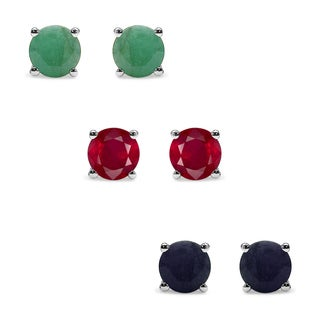 Malaika Sterling Silver 5 5/8ct Emerald Ruby and Sapphire Earrings