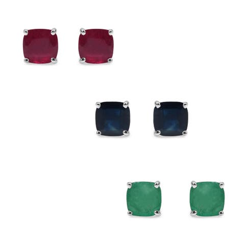 Malaika Sterling Silver 6 1/6ct Emerald Ruby and Sapphire Earrings