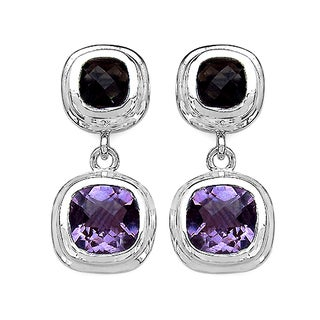Olivia Leone Sterling Silver 6 3/4ct Amethyst and Smoky Topaz Earrings
