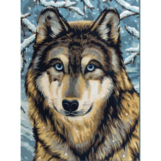 Junior Paint By Number Kit 9inX12inWolf 2