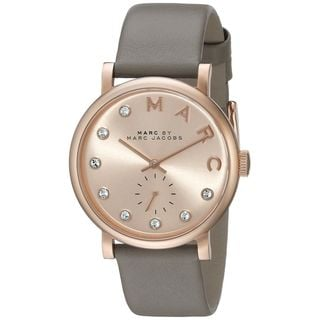 Marc Jacobs Women's MBM1400 'Baker' Crystal Grey Leather Watch