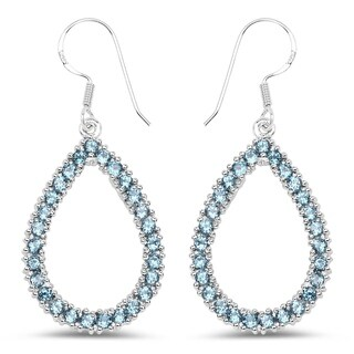 Olivia Leone Sterling Silver 4 1/3ct Blue Topaz Earrings