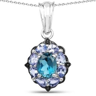 Olivia Leone Sterling Silver 2 3/5ct Blue Topaz and Tanzanite Pendant