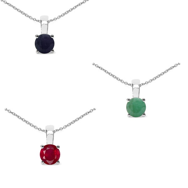 Malaika Sterling Silver 1 5/8ct Emerald Ruby and Sapphire Pendant. Opens flyout.