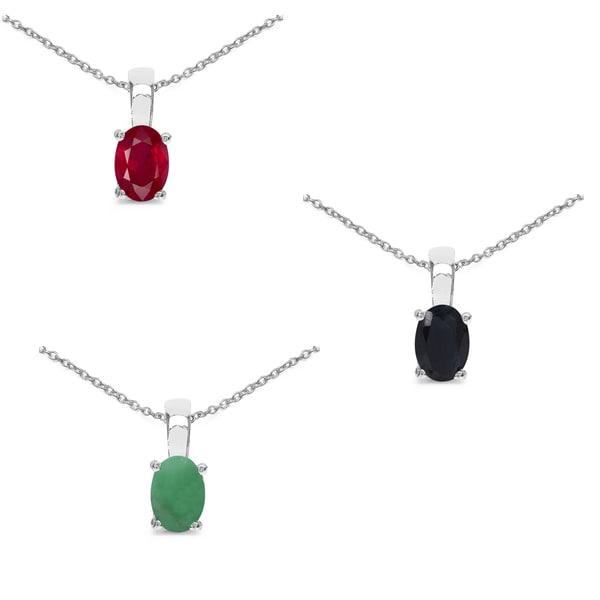 Malaika Sterling Silver 2 3/4ct Emerald Ruby and Sapphire Pendant. Opens flyout.