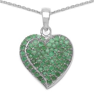 Malaika Sterling Silver 3 3/4ct Emerald Pendant